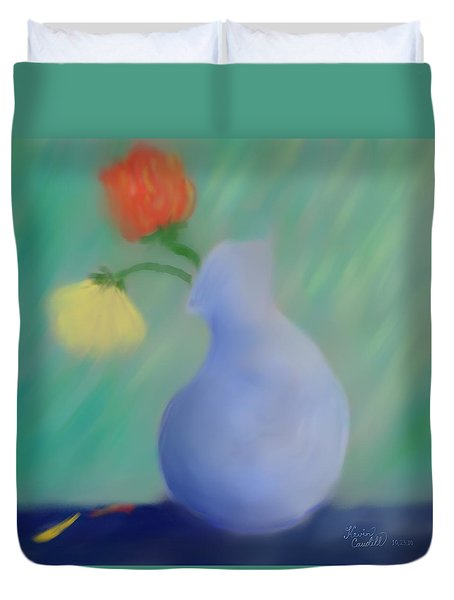 Duvet Cover featuring the painting In The Still Of The Light by Kevin Caudill