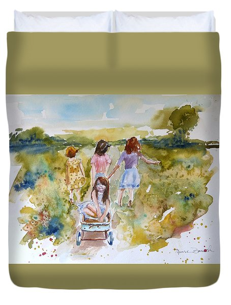 Duvet Cover featuring the painting In The Summer Time by P Maure Bausch
