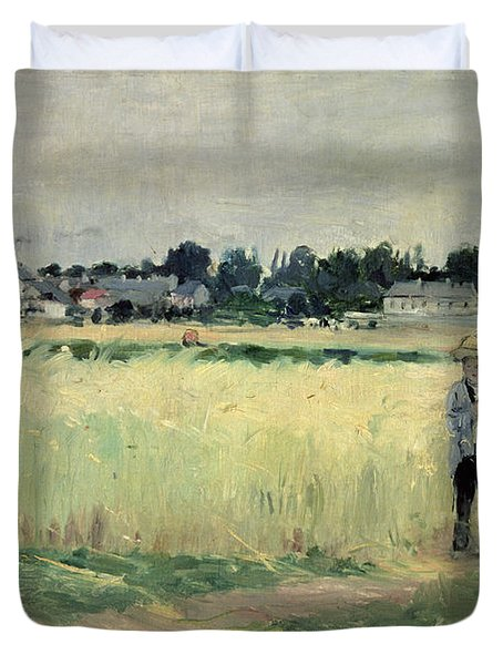 In The Wheatfield At Gennevilliers Duvet Cover