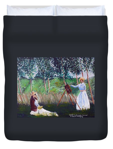 In The Woods At Giverny Duvet Cover by Luis F Rodriguez
