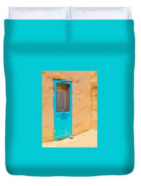 In Through The Blue Door Duvet Cover