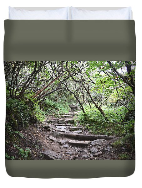 Duvet Cover featuring the photograph The Enchanted Forest Path by Gary Smith