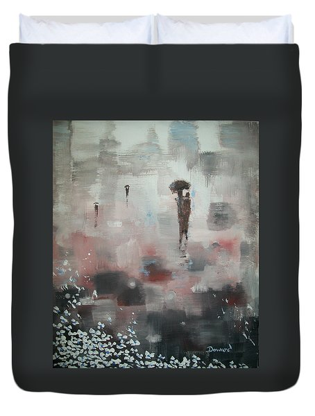 Duvet Cover featuring the painting In With The Crowd by Raymond Doward