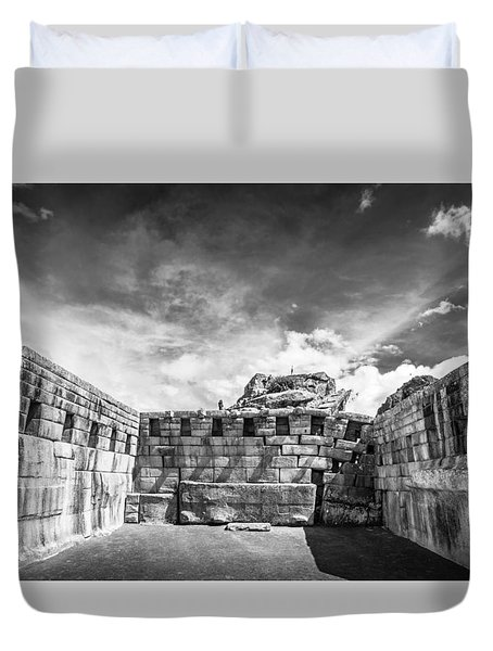 Duvet Cover featuring the photograph Inca Walls. by Gary Gillette