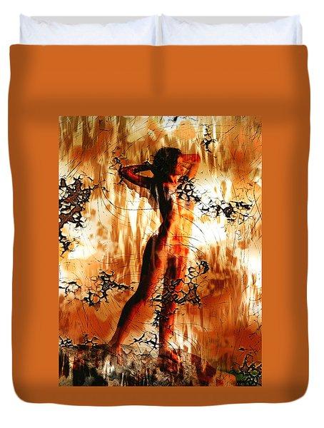 Duvet Cover featuring the digital art Incendiary Art by Mario Carini