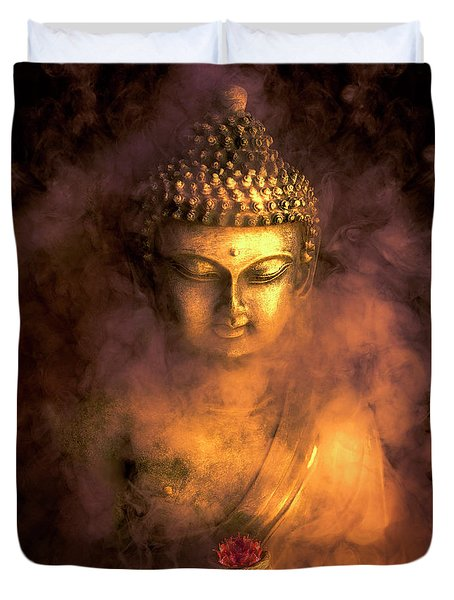 Duvet Cover featuring the photograph Incense Buddha by Daniel Hagerman