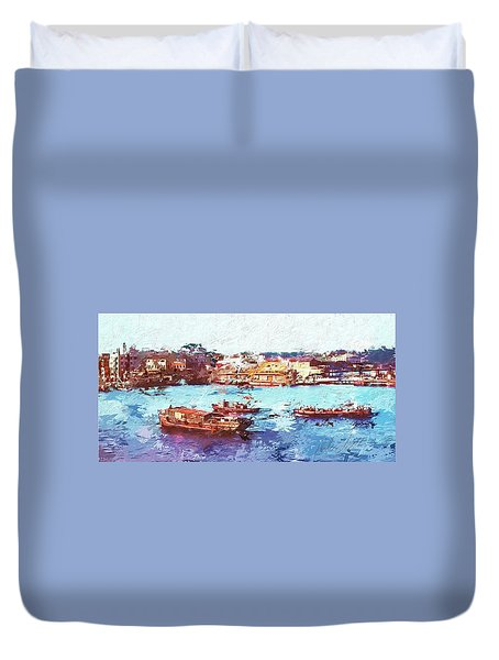 Duvet Cover featuring the digital art Inchon Harbor by Dale Stillman