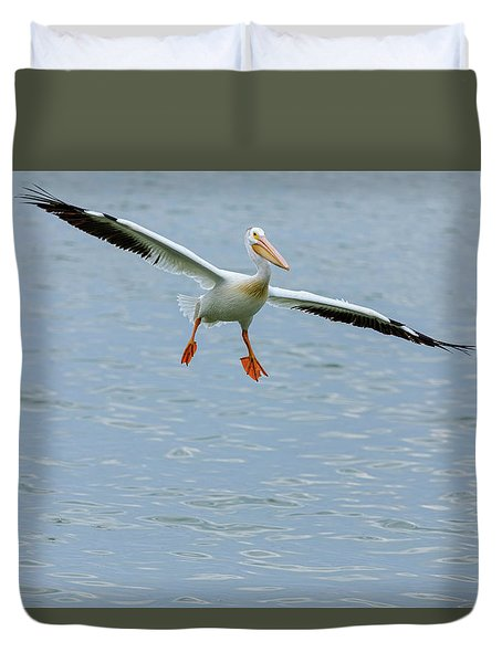 Duvet Cover featuring the photograph Incoming Pelican by James BO Insogna