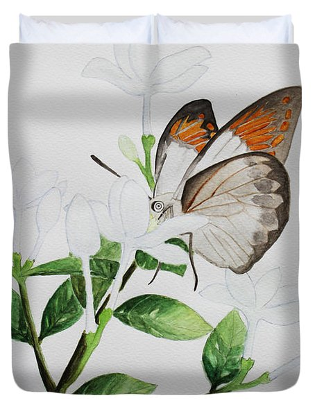 Inda Flower And Butterfly. Duvet Cover
