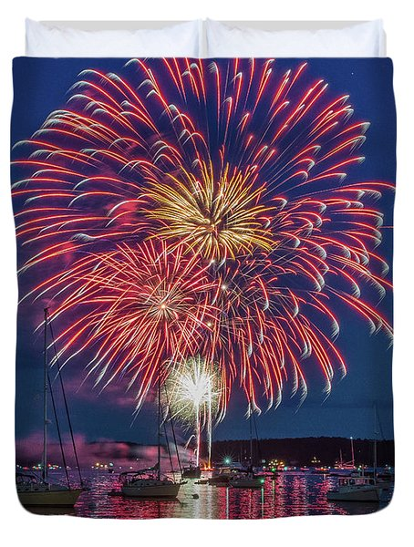 Independence Day Fireworks In Boothbay Harbor Duvet Cover