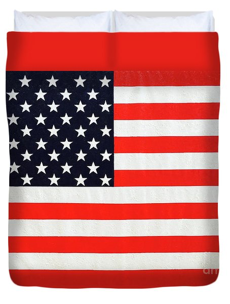 Pooling Independence Day Large Scale Oil On Canvas Original United States Flag Duvet Cover