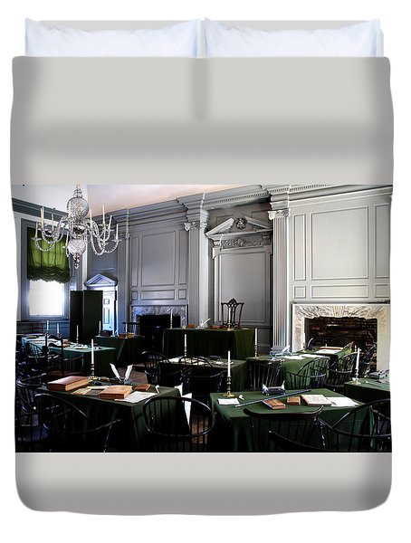Duvet Cover featuring the photograph Independence Hall by Christopher Woods