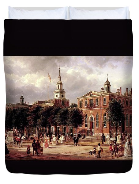 Duvet Cover featuring the painting Independence Hall by Ferdinand Richardt