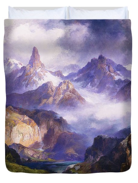 Index Peak Yellowstone National Park Duvet Cover by Thomas Moran