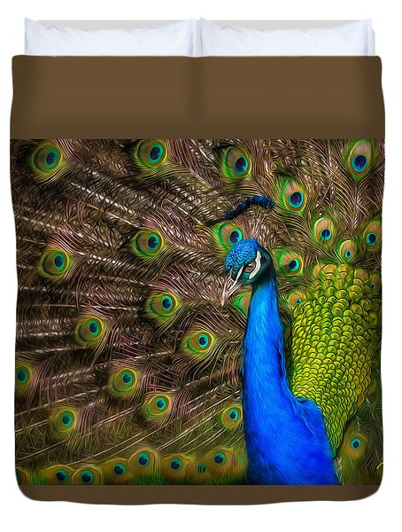 Duvet Cover featuring the photograph India Blue by Rikk Flohr