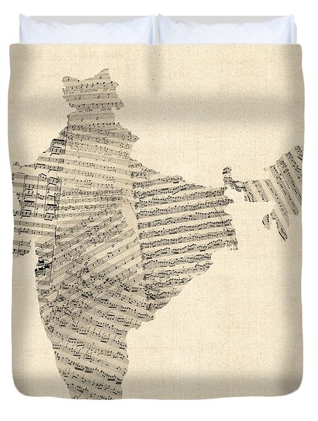 India Map, Old Sheet Music Map Of India Duvet Cover