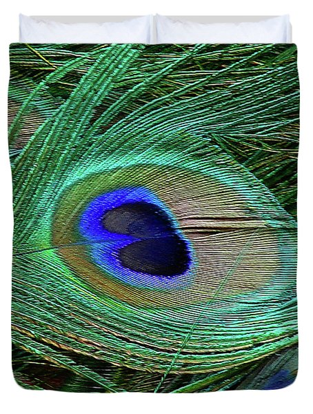 Duvet Cover featuring the photograph Indian Blue Peacock Macro by Blair Wainman