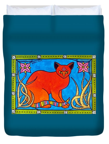 Indian Cat With Lilies Duvet Cover