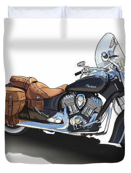 Indian Chief Vintage Original Handmade Drawing. Gift For Bikers. Man Cave Decoration Duvet Cover