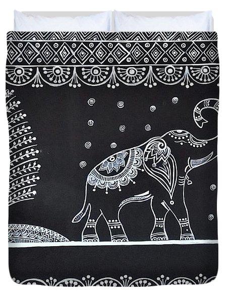 Warli Painting - Indian Tribal Art  Duvet Cover