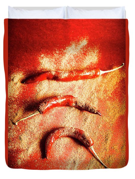 Indian Food Seasoning And Spices Duvet Cover