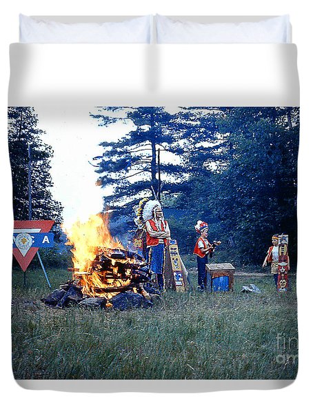 Indian Guide Pow Wow At Lake George N. Duvet Cover by Merton Allen