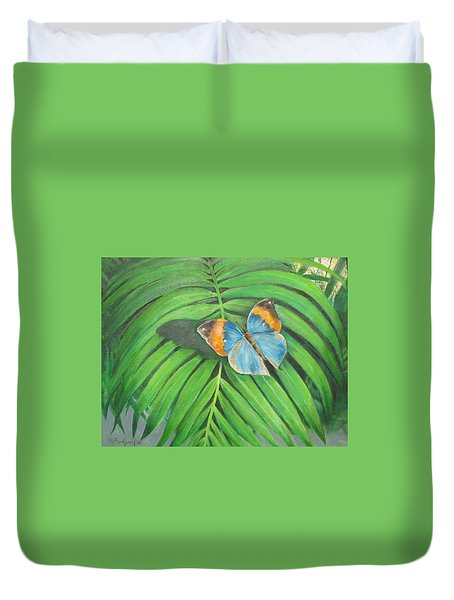 Duvet Cover featuring the painting Indian Head Butterfly by Oz Freedgood