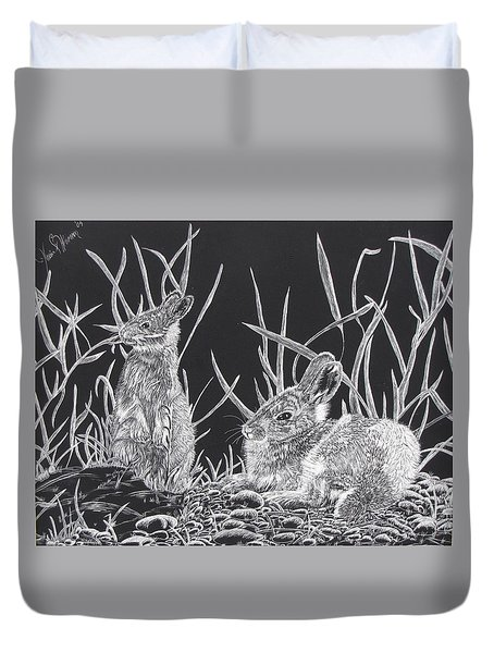 Indian Ink Rabbits Duvet Cover