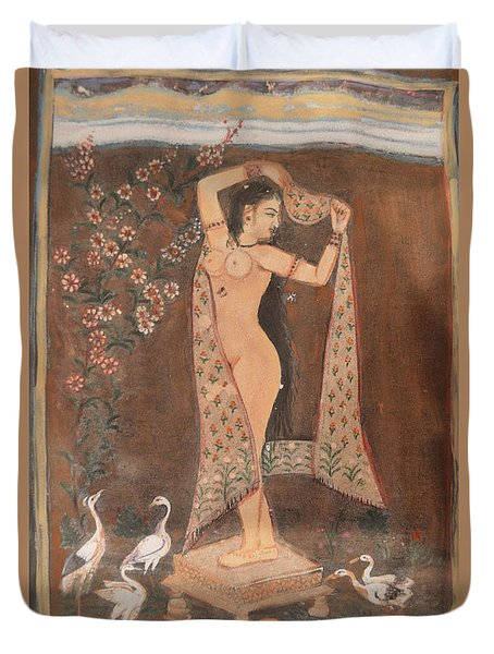 Duvet Cover featuring the painting Indian Lady After Swim by Vikram Singh