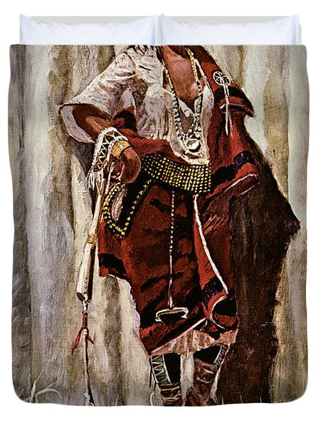 Indian Maid At The Stockade Duvet Cover