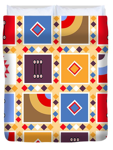 Indian Mexico Pattern On The Carpet Duvet Cover