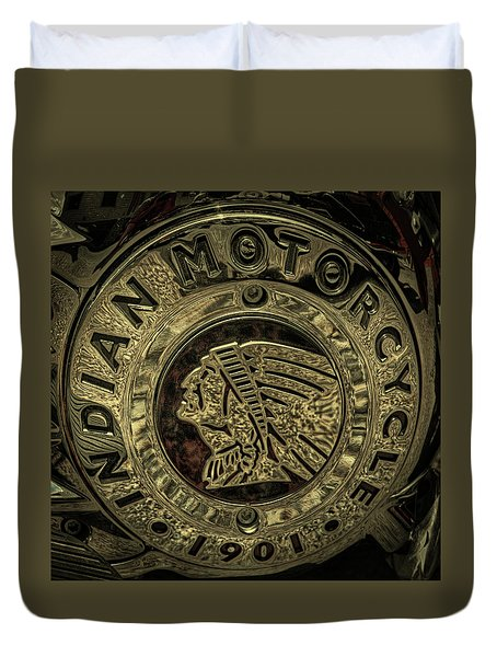 Indian Motorcycle Logo Duvet Cover by David Patterson