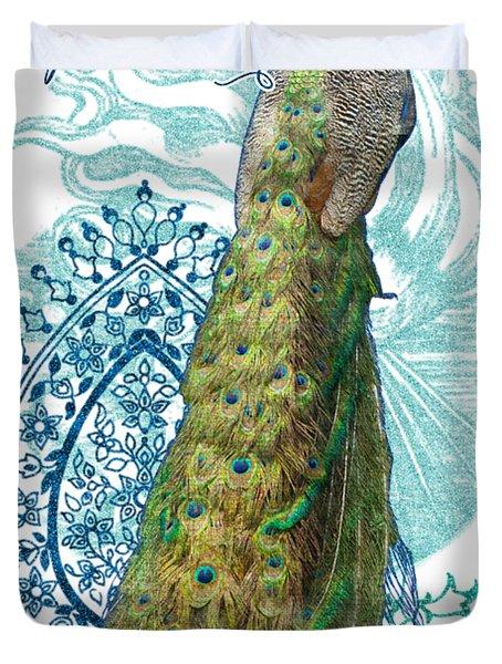 Indian Peacock Henna Design Paisley Swirls Duvet Cover