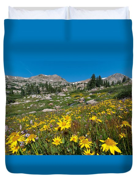 Indian Peaks Summer Wildflowers Duvet Cover