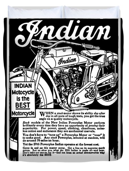 Duvet Cover featuring the digital art Indian Power Plus Motocycle Ad 1916 by Daniel Hagerman