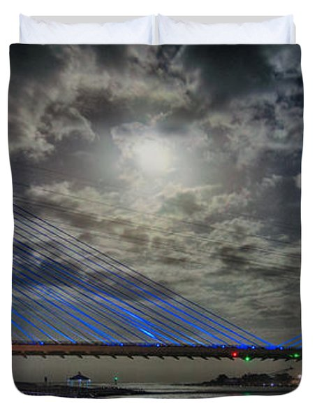 Indian River Bridge Moonlight Panorama Duvet Cover