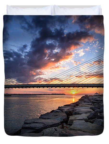 Indian River Inlet And Bay Sunset Duvet Cover