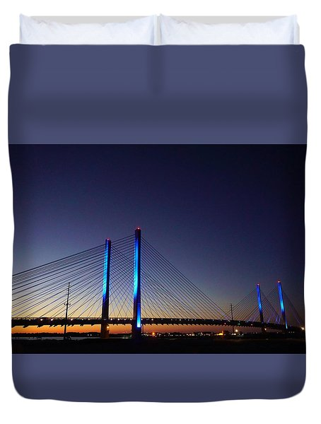 Duvet Cover featuring the photograph Indian River Inlet Bridge by Ed Sweeney