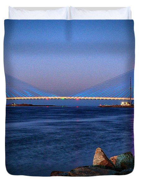 Indian River Inlet Bridge Twilight Duvet Cover