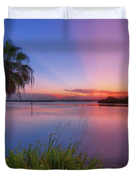 Indian River State Park Bursting Sunset Duvet Cover