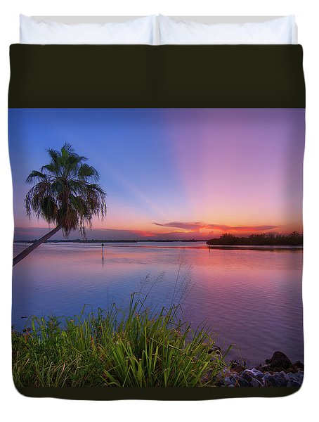 Duvet Cover featuring the photograph Indian River State Park Bursting Sunset by Justin Kelefas
