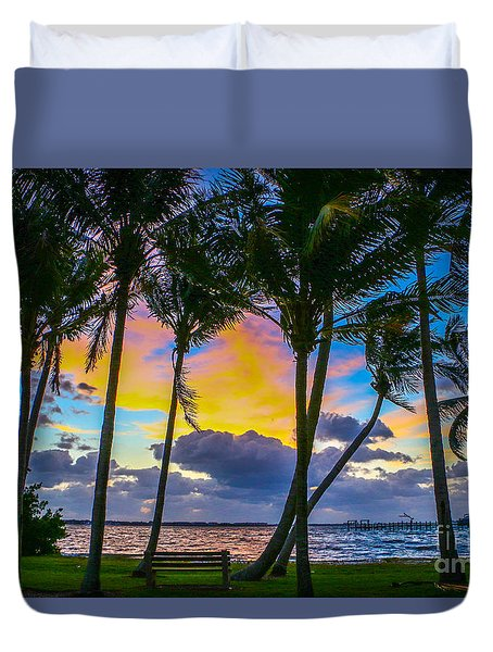 Duvet Cover featuring the photograph Indian River Sunrise by Tom Claud