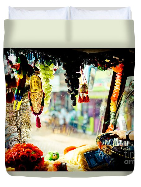 Indian Street From Window In The Bus Kerala India Duvet Cover