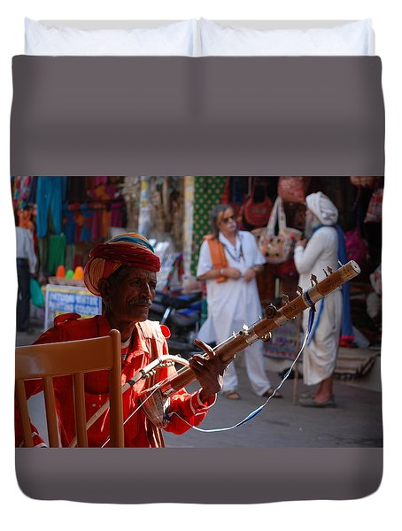 Indian Street Musician Duvet Cover by Sabine Meisel
