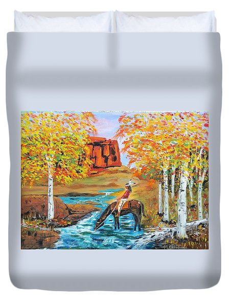 Indian Summer In The Rockies Duvet Cover by Mike Caitham