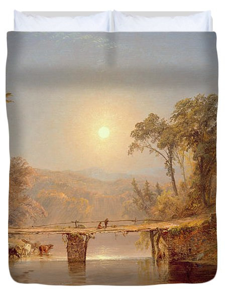 Indian Summer On The Delaware River Duvet Cover by Jasper Francis Cropsey