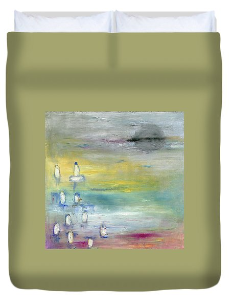 Duvet Cover featuring the painting Indian Summer Over The Pond by Michal Mitak Mahgerefteh