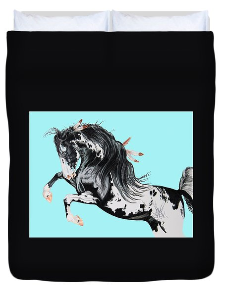 Indian War Pony - Mustang Duvet Cover by Cheryl Poland