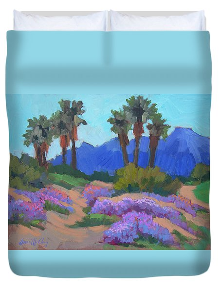 Duvet Cover featuring the painting Indian Wells Verbena by Diane McClary