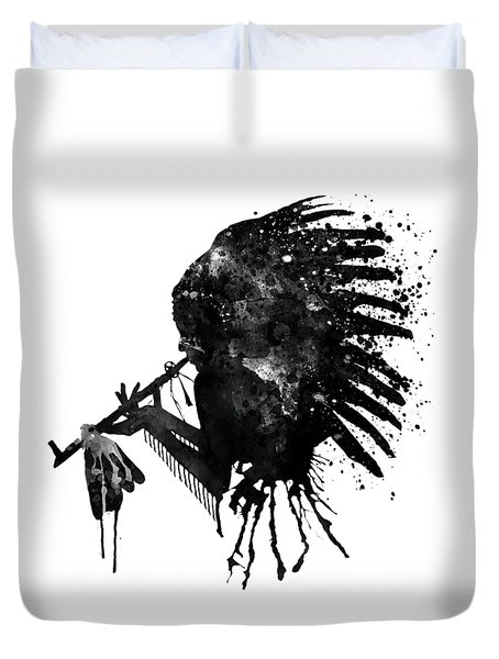 Duvet Cover featuring the mixed media Indian With Headdress Black And White Silhouette by Marian Voicu